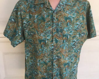 70's Men's Hawaiian Shirt Tropical Forest Print by House of Uniforms Beverly Hills Size S M L XL