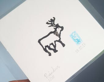 Mini Reindeer Linoprint | Limited | Lino | Signed | Dated | Numbered