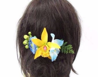 Blue Yellow Green Rose Tropical Flower Hair Comb Orchid Leaf Bridesmaid Vtg 3574