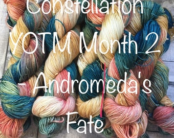 Sock yarn club, Yarn of the month club, YOTMC,mystery club,fingering weight yarn,constellations & myths,toad hollow yarn club,hand dyed yarn