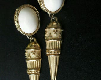 Long Givenchy Earrings Spike vintage artisan GoldTone White Cabochon ornate pierced designer Haute Couture Rare jewelry fashion Victorian