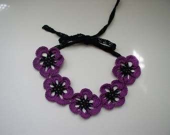 Choker, black and purple cotton
