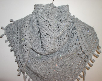 scarf, small gray sequin crochet shawl