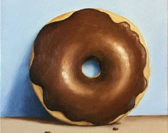 Chocolate Donut, Ready to Hang Original oil painting still life by Jane Palmer, kitchen art, food art wall art doughnuts