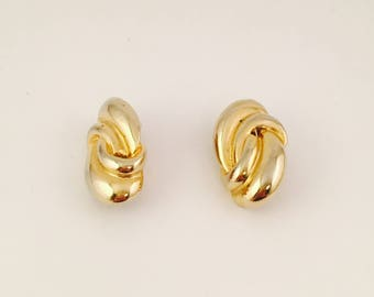 Gold Knot Clip On Earrings