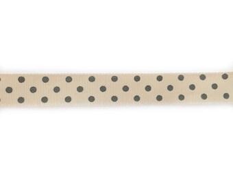 Beige 17 mm wide gray dot Ribbon
