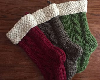 DISCOUNTED - Snowflake Cuff on Chunky Cable Knit Christmas Stocking - Large