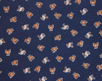 Blue Sweatshirt fabric with little bear print: 60 cm x 140 cm (t-03)