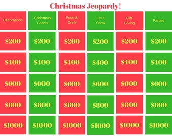 Christmas Jeopardy - Printable Game, Classroom Game, Family Game, Party Game, Holiday Game, Youth Group Game, Instant Download