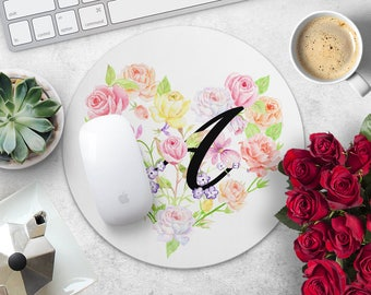 Floral Monogram Mouse Pad Flower Mouse Mat Personalized MousePad Custom Mouse Mat Woman Mouse Pad Cute Mouse Mat Desk Birthday Gift for Her