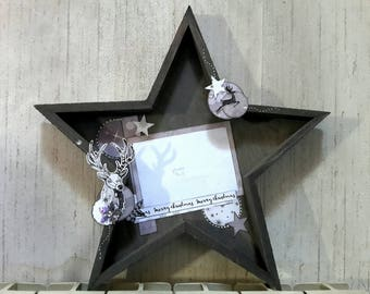 Star chic in grey, black and White Christmas theme wood picture frame