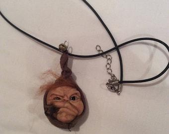 Handmade sculpture,elf,one of a kind,necklace,keyring,home decor, hanging