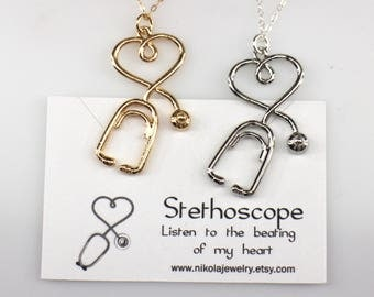 Stethoscope Silver or Gold Necklace, Heart Stethoscope, Nurse Medical Jewelry, Stethoscope Charm, Medical Gifts, Physician Gift, Nurse Gifts