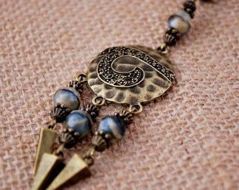 Tribal necklace, Rustic style jewelry, Spike beaded chain necklace, unique exclusive jewelry