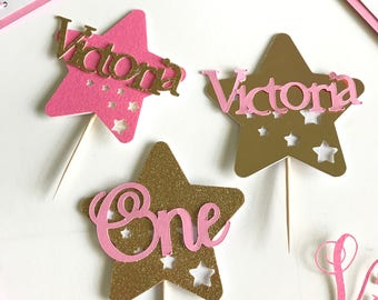Twinkle Twinkle Little Star Cupcake Toppers Girls Cupcake Topper Custom First Birthday Cupcake Toppers Personalized Star Cupcake Toppers