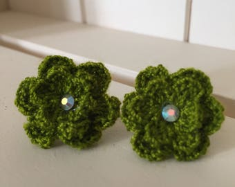 Green Flower Earrings, Crochet Flower Earrings, Green Earrings, flower studs, Handmade Earrings, Earrings, Green Navy Flower,  Earrings,