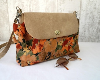 Small suede shoulder bag and large flowers cotton