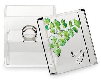 Perspex Acrylic Personalised Wedding Ring Box with Fern Detail Decoration