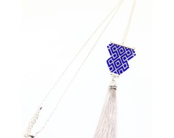 Blue and silver Japanese Pearl woven with tassel necklace