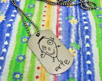 Your Child's Art Work Drawing or Hand Writing, Personal Message To Loved One Signature Dog Tag -or key chain -Actual Handwriting
