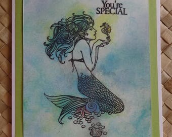 "Mermaid birthday card with seahorse: ""You're special"""