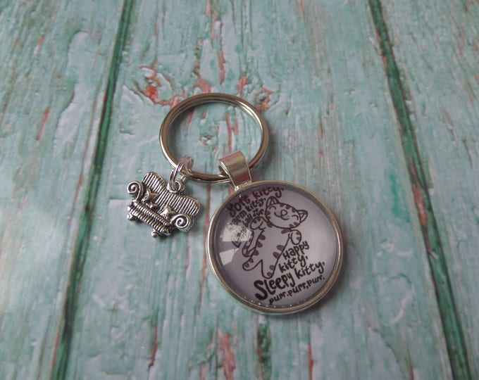 "Big Bang Theory themed silver tone  "" sleepy kitty "" sheldon fan gift keyring with a tibetan silver charm attached"
