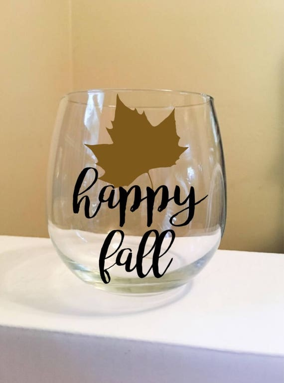 Happy Fall Stemless Wine Glass