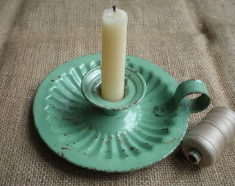 Antique Green Enamel Candlestick Candle Holder Probably French Shabby Chic Rustic Decor Cottage Decor