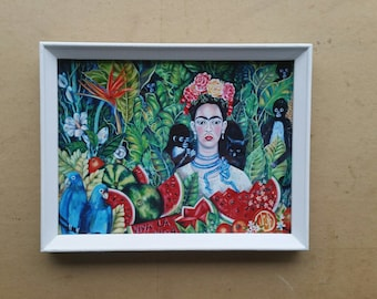 Frida Kahlo  print of my painting/ white vintage frame / glass/ ready to hang or stand