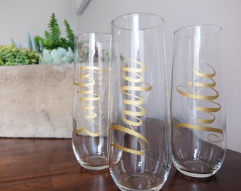 Glass Personalized Champagne Flutes Bridesmaid Wedding Gifts Glass Stemless