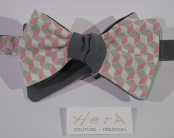 Man bow tie pink/gray Harlequin reversible 2 in 1
