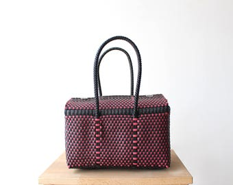 Black & Pink Handmade Mexican Bag, Mexican Woven Bag, Mexican Tote, Summer Bag,  Woven Mexican Tote, Woman Purse, Gifts for her