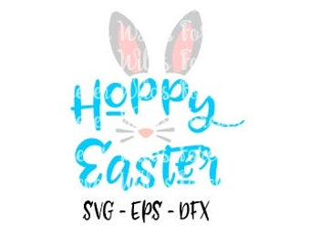 Hoppy Easter svg - Bunny Easter Svg - Girls Bunny svg - Easter monogram svg - Monogram svg - Bunny svg - Floral bunny svg - Happy Easter svg