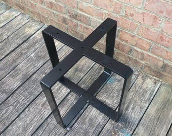 metal table base powdercoated black