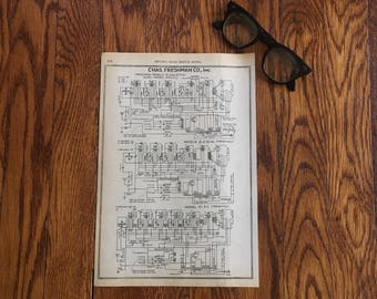 Vintage Radio Diagram, Chas. Freshman Co Wiring Diagram, Great Vintage Home Decor