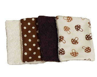 Set of 10 wipes mushroom pattern cotton and sponge