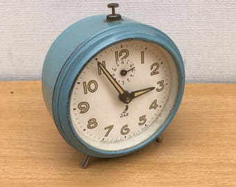 Vintage blue Metal JAZ alarm clock + Vintage Metal feet