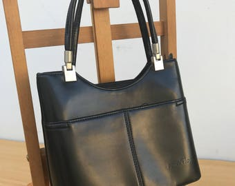 AGNES FLO leather black strap handbag removable Vintage