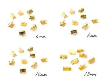 50 crimp 6mm 8mm 10mm 13mm gold tone bracelet with Ribbon