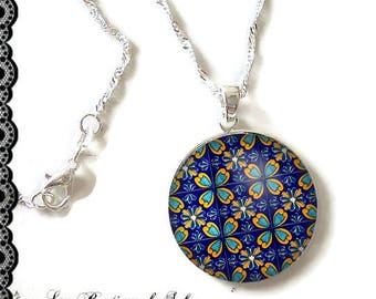 925 Sterling Silver Chain: 25 mm cabochon necklace * mosaic * (080617)