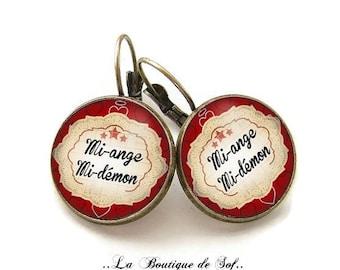 Stud Earrings with cabochon 18 mm * mi-ange, half-demon * (040617)