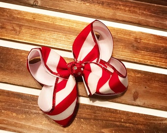 Glitter Candy Cane Bow