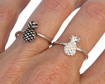 Sterling Silver Ring, Silver Pineapple Ring, Fruit Ring, Band Ring, Ethnic Ring, Oxidized Silver Ring, Bright Silver Ring
