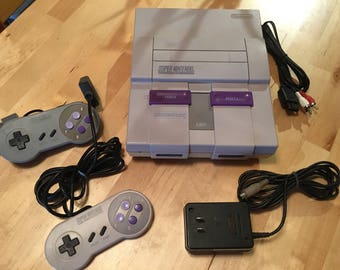 Super Nintendo System | SNES | 2 Controllers | All cables | Video Game Console | #034