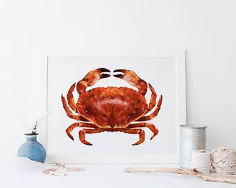 Nautical Crab Illustration - Sea side Illustration - Marine Drawings - Seaside Art - Home Decor - Gifts for the home - Sea Side Print Poster