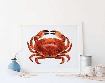 Nautical Crab Illustration, Sea side Illustration, Marine Drawings, Seaside Art, Home Decor, Gifts for the home, Sea Side Print Poster