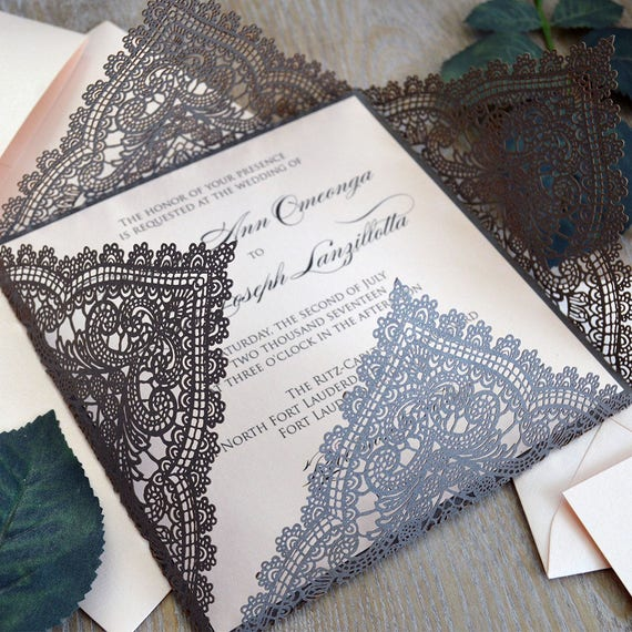 CHANTILLY LACE Laser Cut Wrap Invitation - Antique Silver Square Laser Cut Wedding Invitation with Blush Insert and Belly Band