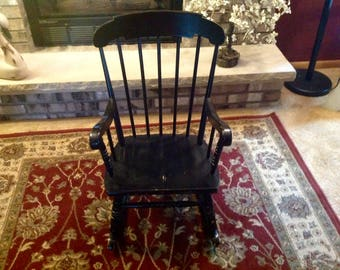 Vintage Childs Black Wooden Rocking Chair Bedroom Kids Reading Book Decor