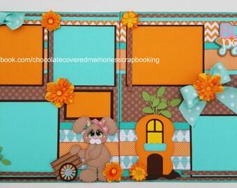 Bunny Patch Easter Premade 12x12 Paper Piecing Scrapbook Layout Scrapbooking Die Cut