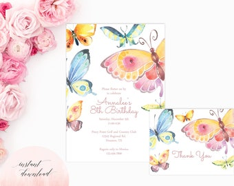 printable butterfly party invitation, butterfly birthday invitation, butterfly invitation, birthday invitation, baby shower